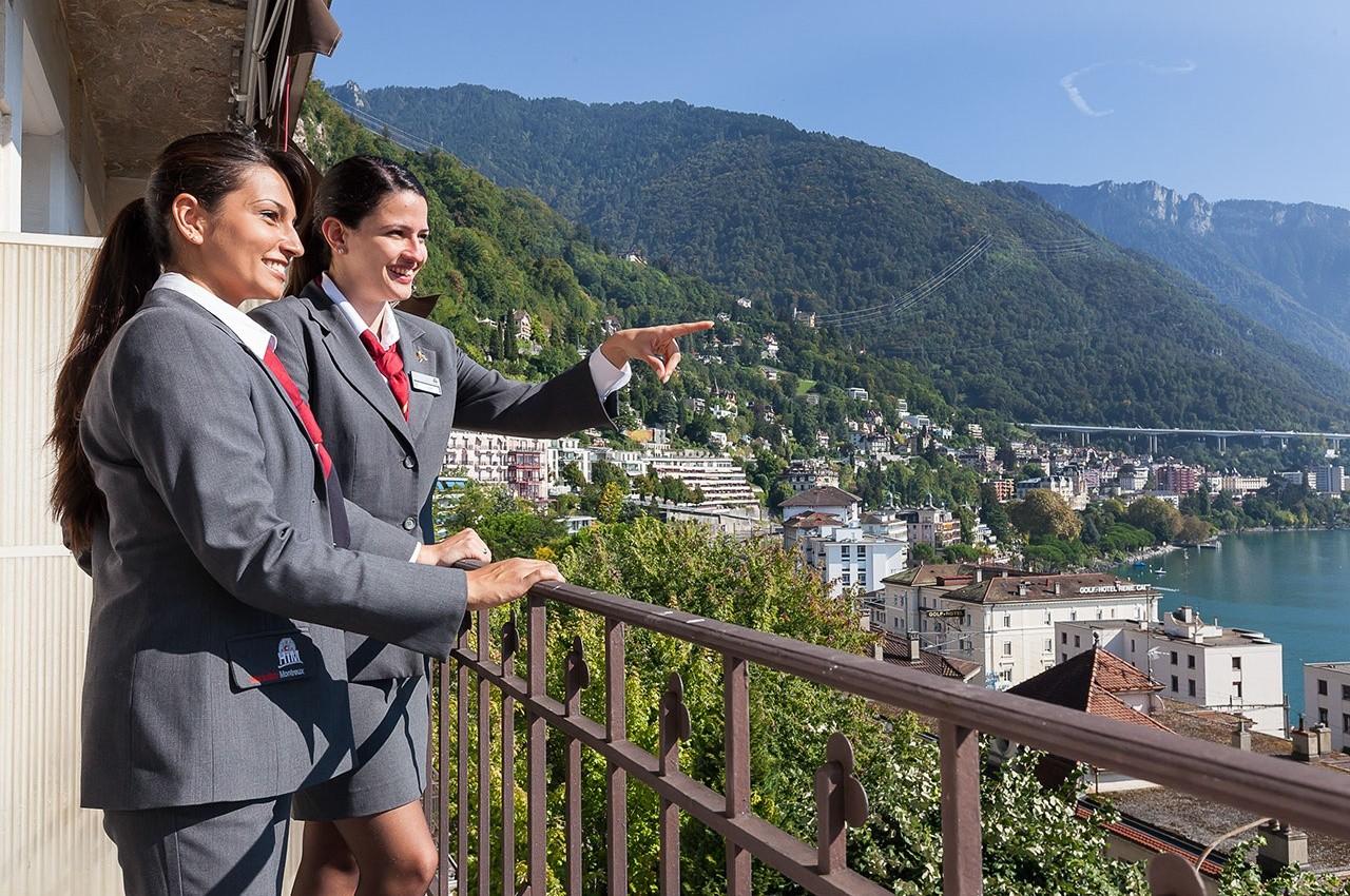 Utsikt fra Hotel Institut Montreux i Sveits